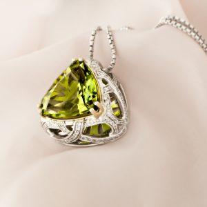 White Gold Pendant With Peridot And Diamonds