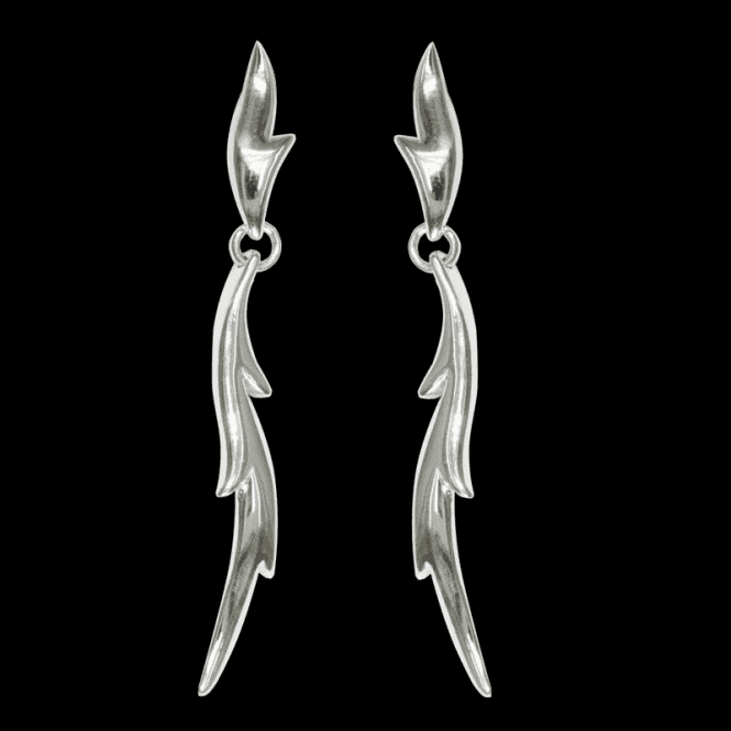 Ladies Shipton and Co Exclusive Silver Spiky Leaf Drop Earrings EQP052NS