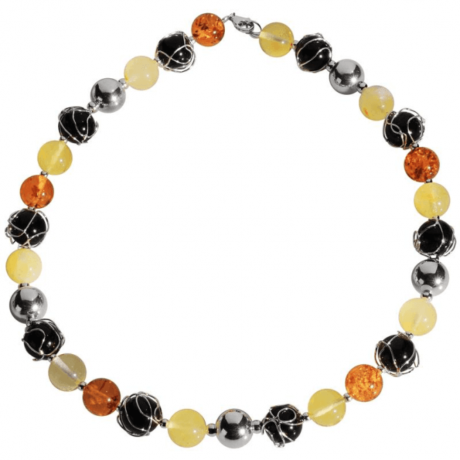 Ladies Shipton and Co Exclusive Silver and Multi Coloured Amber Necklace TBR002AB