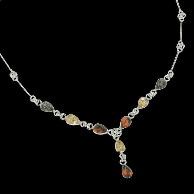 Shipton and Co Ladies Shipton and Co Exclusive Silver and Multi Coloured Pearshape Amber  Necklace TPT025AB
