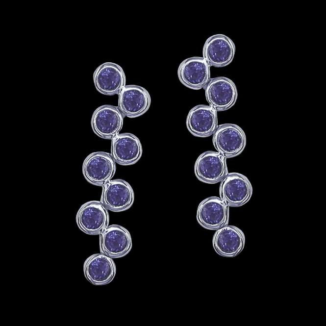 Shipton and Co Ladies Shipton and Co Exclusive Silver and Nine 3mm Round Amethyst Moveable Drop Earrings EQA101AM
