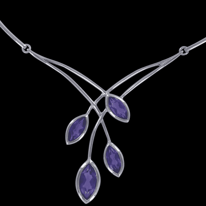Ladies Shipton and Co Exclusive Silver and Amethyst Necklace NQA165AM