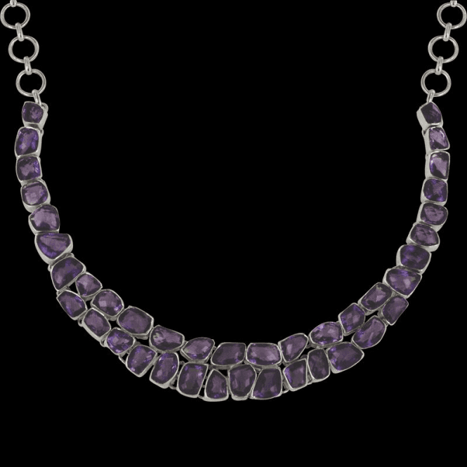 Silver Double Row Baroque Faceted Amethyst Necklet