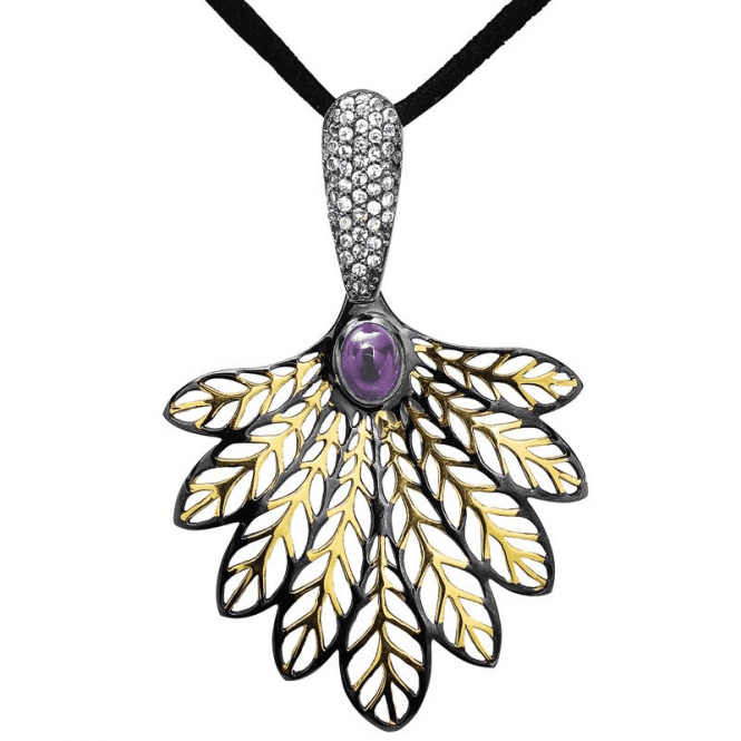 Palm Design Lit with Amethyst & the Diamond Sparkle of Pure White Topaz