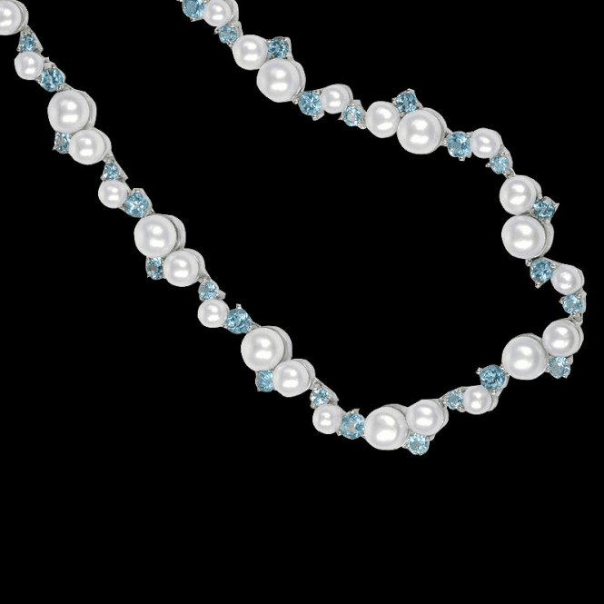 Dancing Stream of Blue Topaz & Pearls