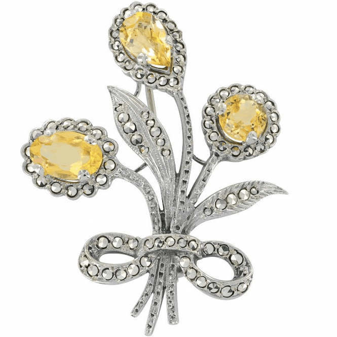 Silver & Citrine Bouquet Brooch