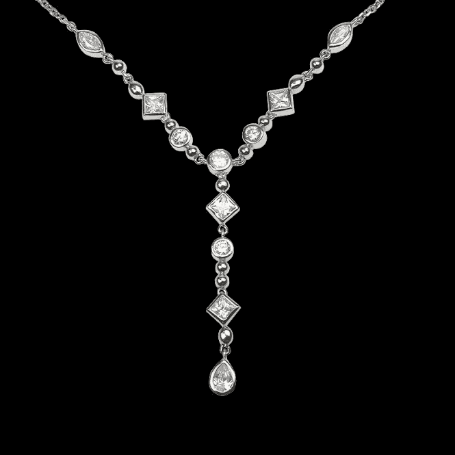 Ladies Shipton and Co Exclusive Silver and Cubic Zirconia Necklace NQA209CZ1