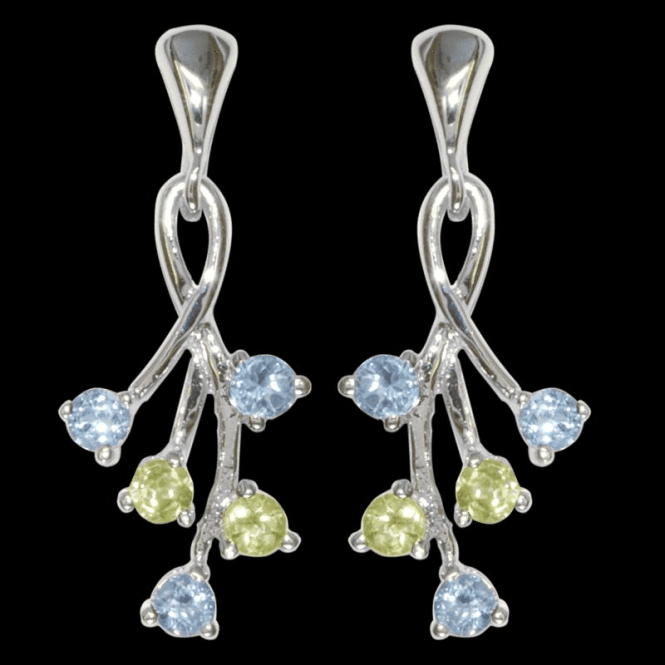 Blue Topaz and Peridot Drop Earrings