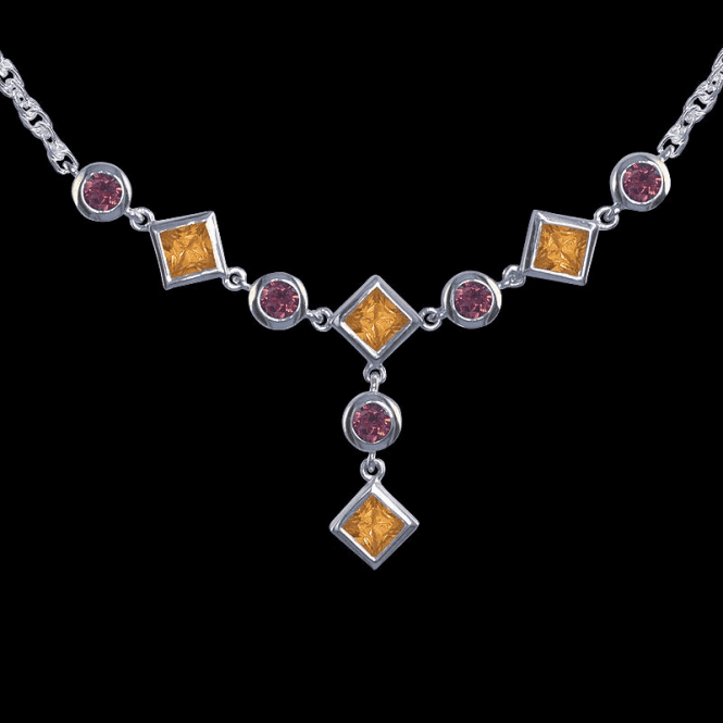 Shipton and Co Ladies Shipton and Co Exclusive Silver and Multiple Stone Necklace NQA052MU2