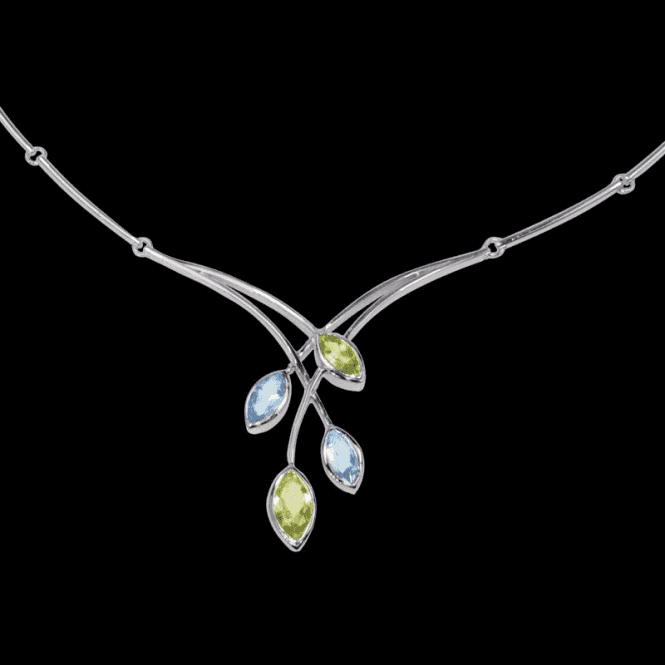 Ladies Shipton and Co Exclusive Silver and Multiple Stone, Peridot Necklace NQA165MU3