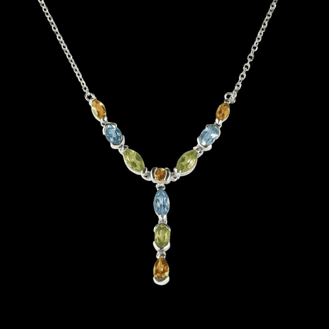 Ladies Shipton and Co Exclusive Silver and Multiple Stone Peridot Necklace NQA189MU7