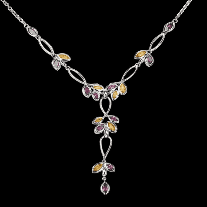 Cascading Colours Set in Sterling Silver