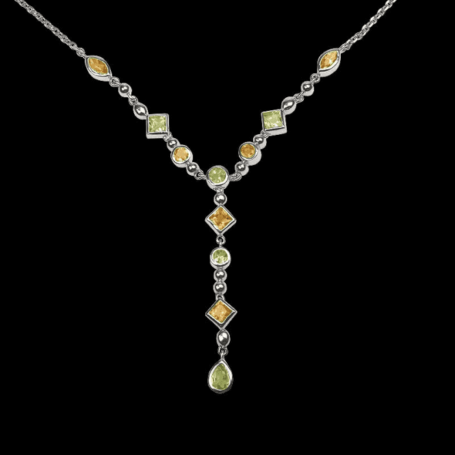 Ladies Shipton and Co Exclusive Silver and Multiple Stone Peridot Necklace NQA209MU4