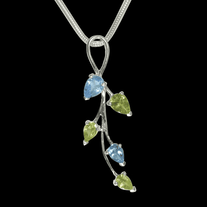 Ladies Shipton and Co Exclusive Silver and Multiple Stone Peridot Pendant including a 16 Silver Flexisnake Chain PQA143MU3