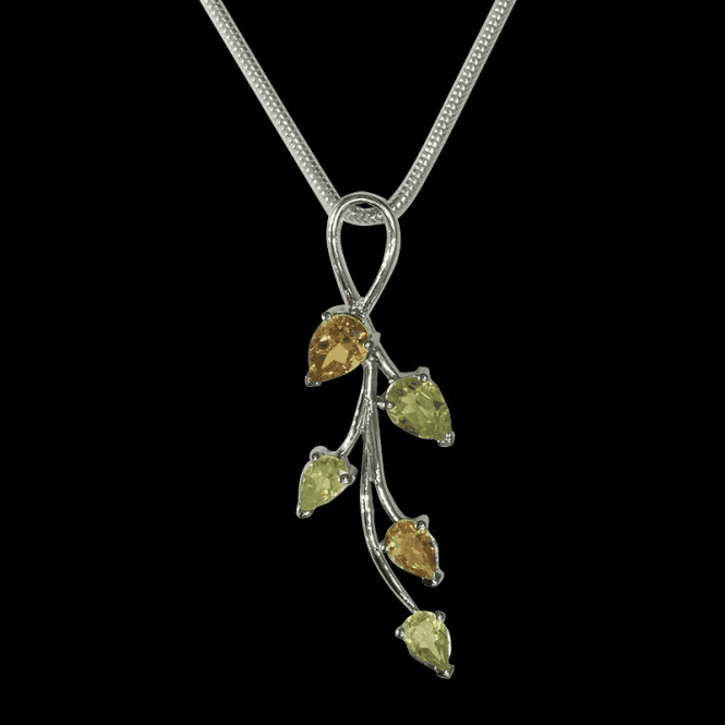 Shipton and Co Ladies Shipton and Co Exclusive Silver and Multiple Stone Peridot Pendant including a 16 Silver Flexisnake Chain PQA143MU4