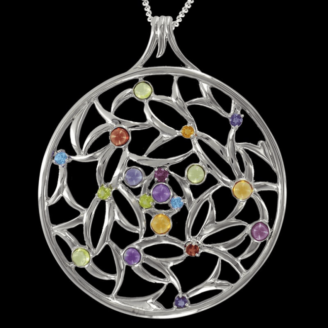 "Shipton and Co Ladies Shipton and Co Exclusive Silver and Multiple Stone, Peridot Pendant including a 16"" Silver Chain  PQA280MU9"