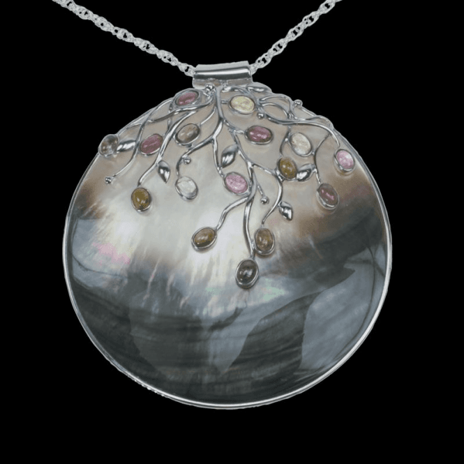 Shipton and Co Ladies Shipton and Co Exclusive Silver and Multiple Stone Pendant including a 16 Silver Flexisnake Chain TTL044MU