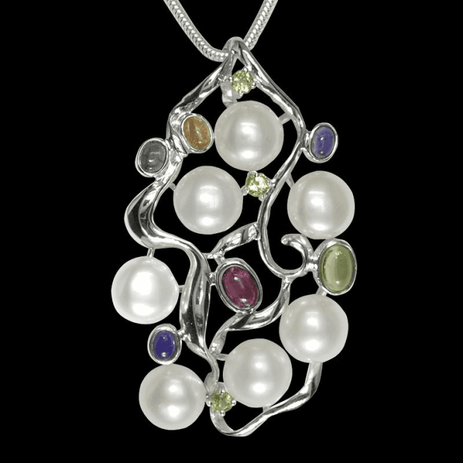 Ladies Shipton and Co Exclusive Silver and Multiple Stone Peridot Pendant including a 16 Silver Flexisnake Chain TTL107MU