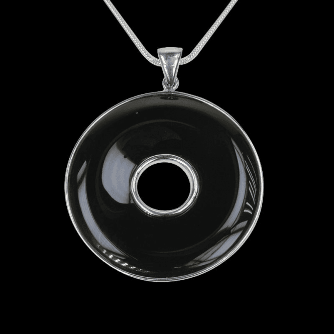 Ladies Shipton and Co Exclusive Silver and Onyx Pendant including a 16 Silver Flexisnake Chain TTL181ON