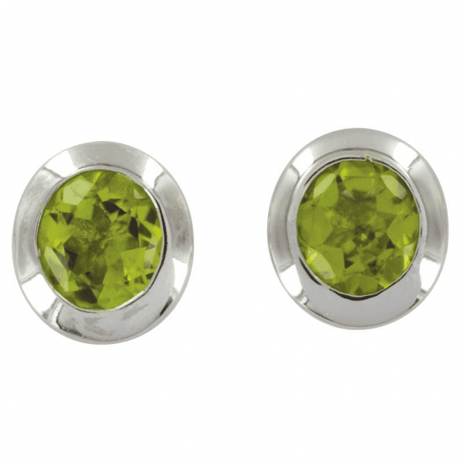 Ladies Shipton and Co Silver and Peridot 5mm Round Stud Earrings EQA015PE