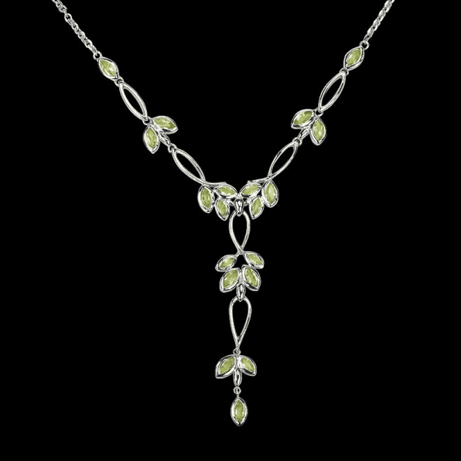 Ladies Shipton and Co Exclusive Silver and Peridot Cluster Looped Necklace NQA200PE