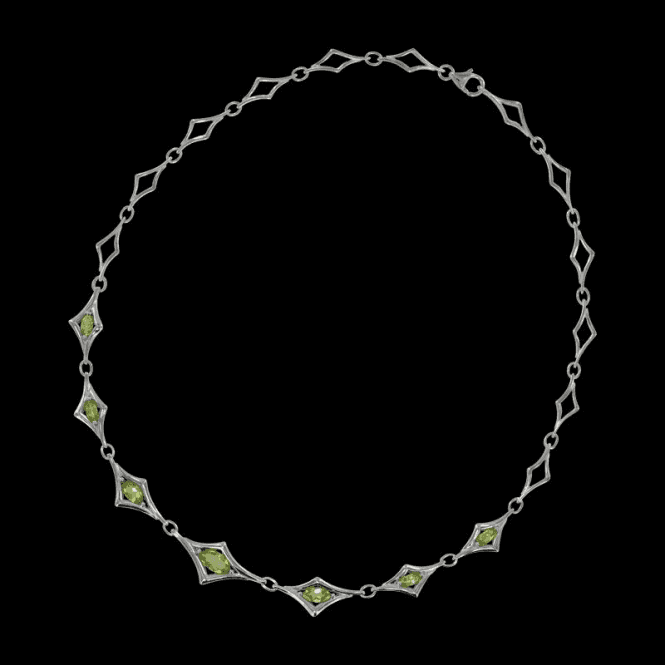 Shipton and Co Ladies Shipton and Co Exclusive Silver and Marquise Peridot Angular Brackets Necklace NQA275PE