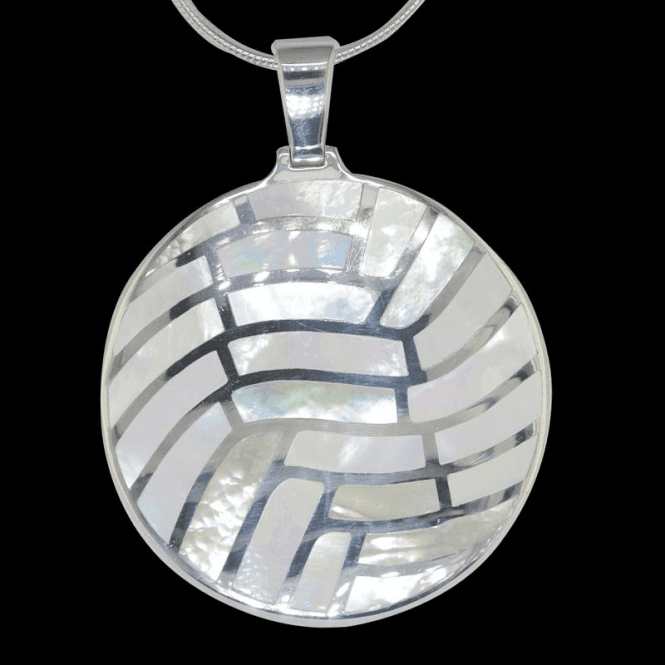 Shipton and Co Ladies Shipton and Co Exclusive Silver Mosaic Circle Mother of Pearl Pendant including a 16 Silver Flexisnake Chain TKW116PM