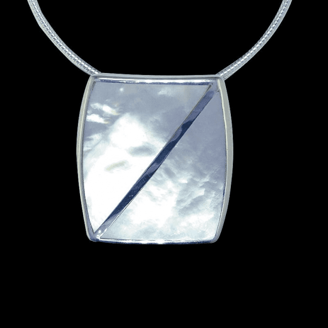 """Shipton and Co Ladies Shipton and Co Exclusive Silver Diagonal Split Line Mother of Pearl Pendant including a 16"""" Silver Flexisnake Chain TKW145PM"""