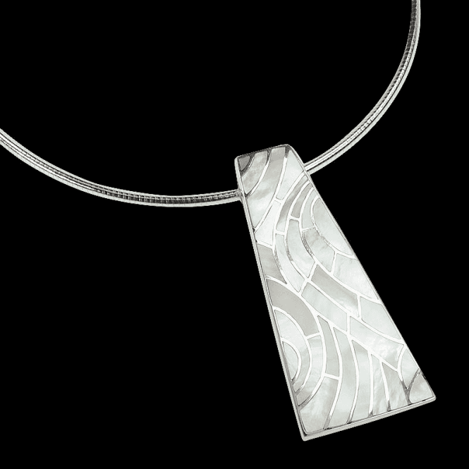"Shipton and Co Ladies Shipton and Co Exclusive Silver Stained Glass White Mother of Pearl Pendant including a 16"" Silver Flexisnake Chain TKW320PM"