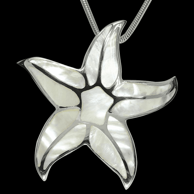 "Shipton and Co Ladies Shipton and Co Exclusive Silver White Mosaic Starfish Mother of Pearl Pendant including a 16"" Silver Flexisnake Chain TKW357PM"