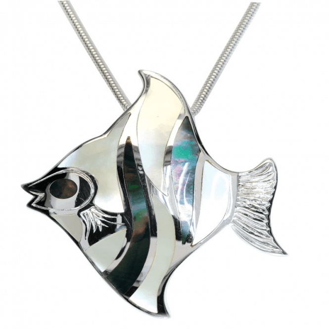 Ladies Shipton and Co Exclusive Silver Black and White Mosaic Angel Fish Mother of Pearl Pendant including a 16 Silver Flexisnake Chain TKW365PM