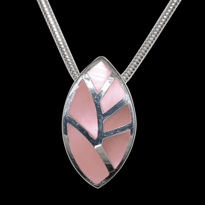 Ladies Shipton and Co Exclusive Silver Small Mosaic Leaf Pink Mother of Pearl Pendant including a 16 Silver Flexisnake Chain TKW387PM
