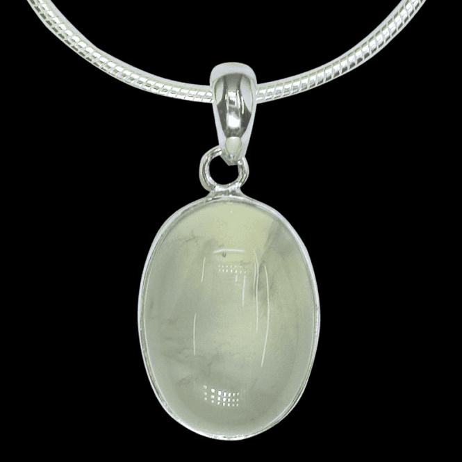 Ladies Shipton and Co Exclusive Silver Oval Prenhite Pendant including a 16 Silver Flexisnake Chain PQA128PR