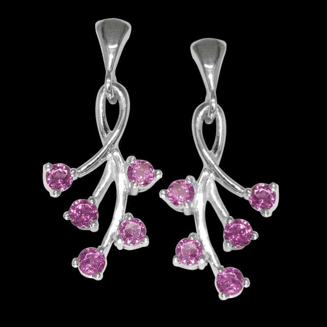 Ladies Shipton and Co Exclusive Silver and Rhodolite Garnet Spay Drop Earrings EQA156RH