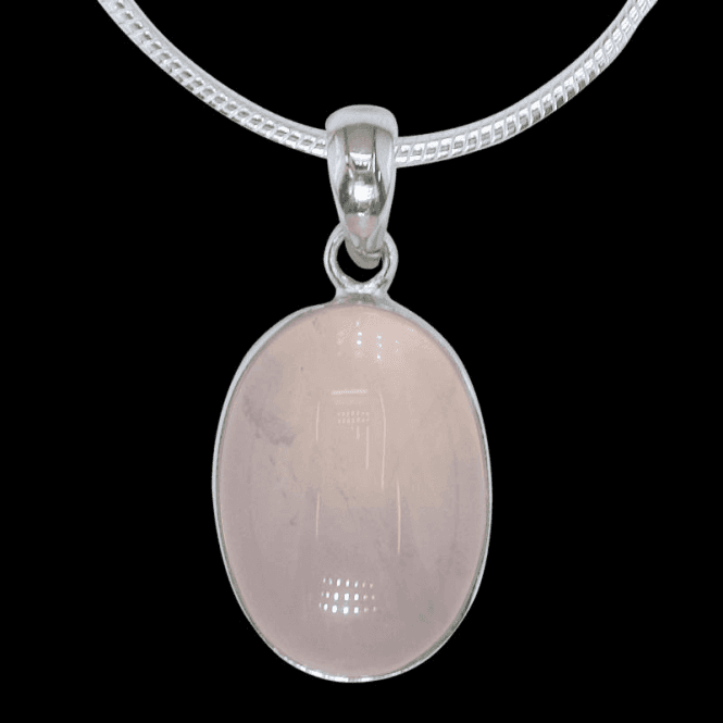 Ladies Shipton and Co Exclusive Silver and Oval Rose Quartz Pendant including a 16 Silver Flexisnake Chain PQA128RQ