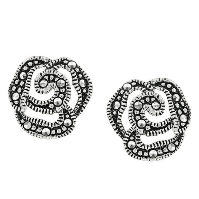 Marcasite Rose Earrings