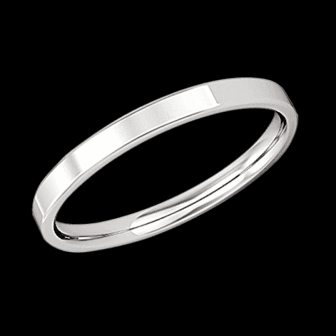 Shipton and Co Ladies Shipton and Co 9ct White Gold 3mm Flat Court Wedding Ring TST014NS