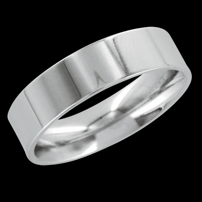 Ladies Shipton and Co 9ct White Gold 9mm Flat Court Wedding Ring TST019NS