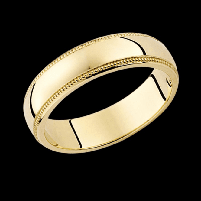 Shipton and Co Ladies Shipton and Co 9ct Yellow Gold 5mm D Millgrin Wedding Ring TST006NS