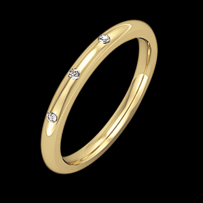 Shipton and Co Ladies Shipton and Co 18ct Yellow Gold 2mm Trilogy Diamond Wedding Ring TST038DI