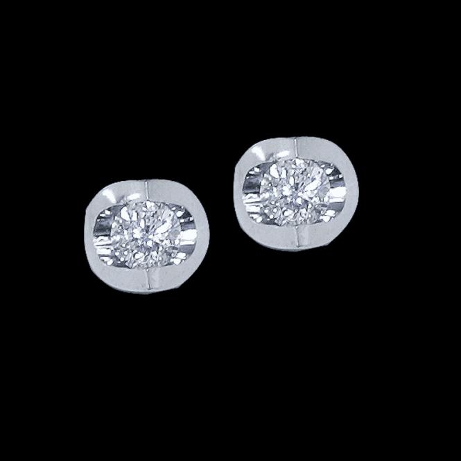 Shipton and Co Ladies Shipton and Co Exclusive 9ct White Gold Scoop Mount Diamond Earrings TJS012DI