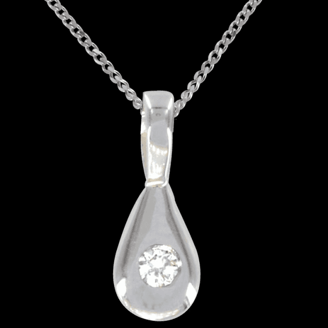 Ladies Shipton and Co Exclusive 9ct White Gold 5pt Diamond Drop Pendant including a 18 to 16 White Gold Chain PWX132DI