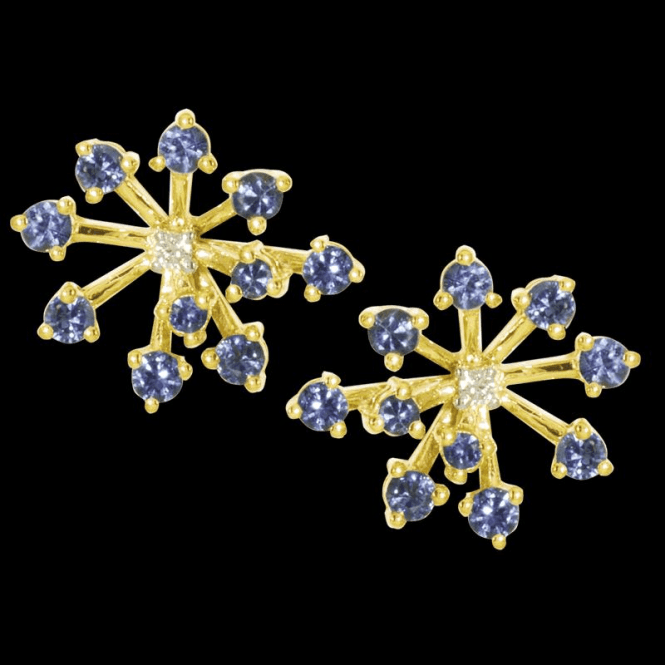Ladies Shipton and Co Exclusive 9ct Yellow Gold Blue Sapphire and 4pt Diamond Earrings EYD012BSD