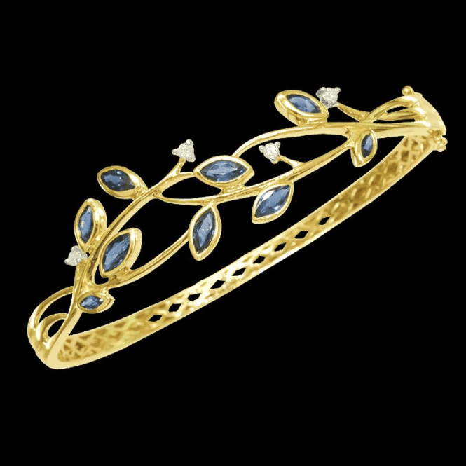 Ladies Shipton and Co 9ct Yellow Gold and Blue Sapphire Bangle GYD032BSD