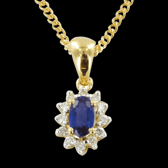 Shipton and Co Ladies Shipton and Co Exclusive 9ct Yellow Gold Classic Cluster Blue Sapphire Pendant including a 16 9ct Chain PYD061BSD