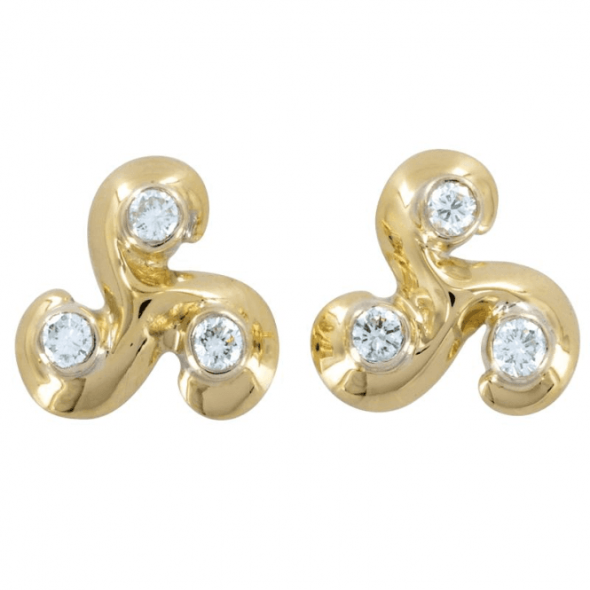 Ladies Shipton and Co Exclusive 9ct Yellow Gold Brilliant Cut Diamond Tefoil 9pt Earrings EYX119DI