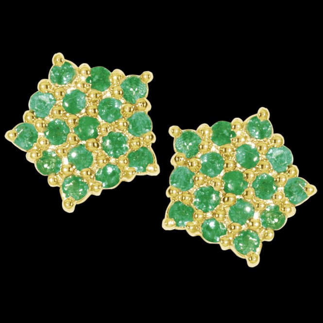 Shipton and Co Ladies Shipton and Co Exclusive 9ct Yellow Gold 16 Emerald Round Cluster Earrings EYD014EM