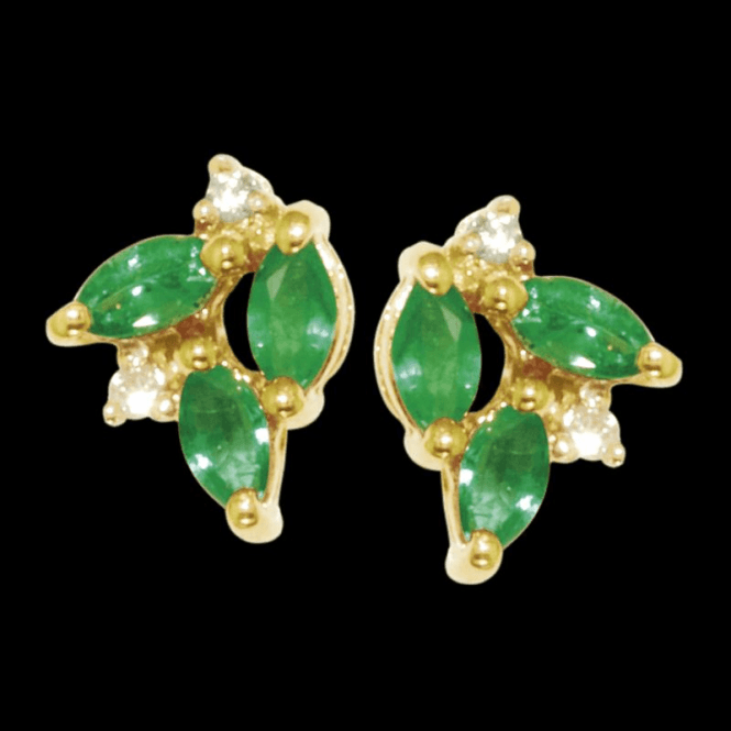 Ladies Shipton and Co Exclusive 9ct Yellow Gold 3 Marquise Emerald and Diamond Earrings EYD023EMD