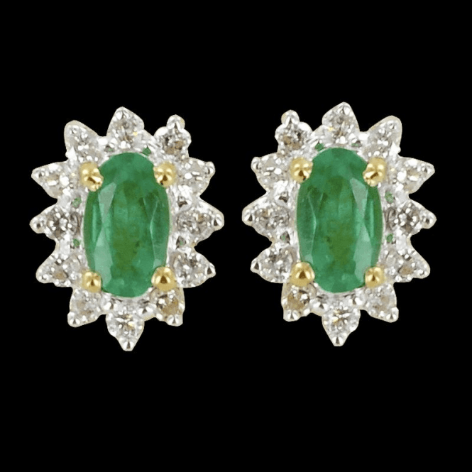 Shipton and Co Classic Cluster Emerald Earrings