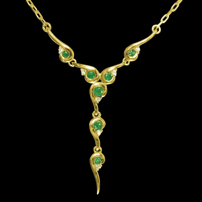 Shipton and Co Ladies Shipton and Co Exclusive 9ct Yellow Gold Diamond and Emerald Enigma Necklace NYD005EMD